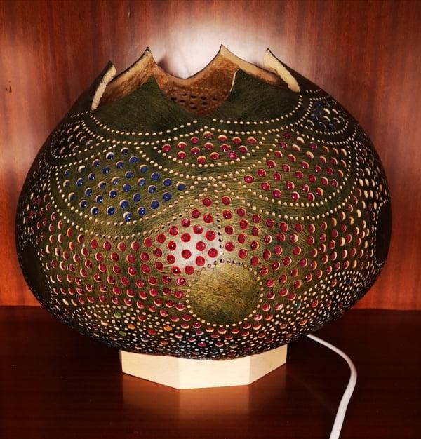 Lámpara de calabaza Bodrum Yesil apagada