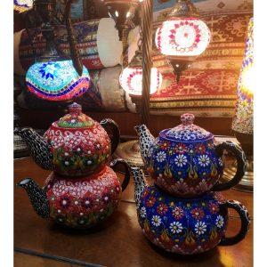 Tetera turca doble de cerámica