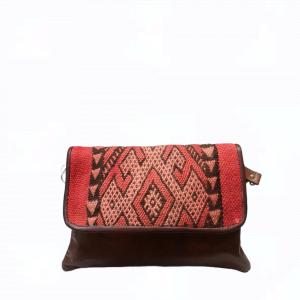 Bolso de piel con solapa de kilim Cezayir