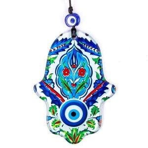 Amuleto mano de Fátima y ojo turco de cristal